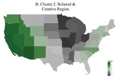 "The paper looked at 1.5 million responses gathered from five different online surveys and assessed respondents across five key personality traits: Openness, conscientiousness, extraversion, agreeableness, and neuroticism.  Three distinct regions emerged: the ""Friendly and Conventional"" states in the Midwest and South, ""Related and Creative"" states mainly on the West Coast, and the ""Temperamental and uninhibited"" states on the East Coast and in Texas."
