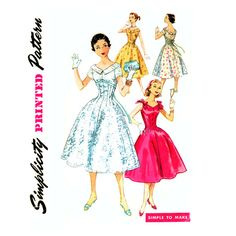 50s Vintage Dress Sewing Pattern Bust 30 Simplicity by CynicalGirl, $22.00