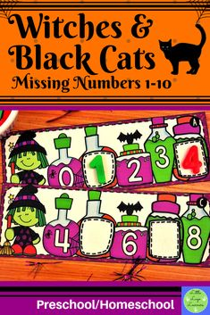 These Witches & Black Cats Missing Numbers 1-10 are the perfect addition for learning in your Math Centers. These activities are engaging with their challenging content! Your 4-6 year old kids will enjoy learning about Halloween and missing numbers with this time saving resource. Number Activities, Literacy Activities, Math Resources, Literacy Centers, Preschool Halloween, Halloween Witches, Halloween Activities, Morning Activities, Numbers 1 10