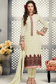 Cream color designer straight salwar suit online at lower price ...