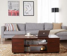 Furniture of America Pollins Vintage Walnut Coffee Table - Overstock™ Shopping - Great Deals on Furniture of America Coffee, Sofa & End Tables Walnut Coffee Table, Cool Coffee Tables, Coffee Table With Storage, Wooden Street, Coffee Table Dimensions, Lowes Home, Sofa End Tables, Sofa Set, Living Room Furniture
