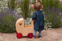 Moover Wooden Dolls' Pram - designer Dutch toy company. #Toys #Prams http://www.babydino.com/moover-wooden-dolls-pram-natural