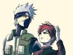 """Gaara and Kakashi -- Gaara's like """"Why are you touching me? Naruto Kakashi, Naruto Shuppuden, Neji E Tenten, Shikamaru, Ninja, Akatsuki, Naruto Characters, Haikyuu Anime, Anime Demon"""