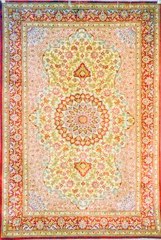 Qum Silk Persian Rug | Exclusive collection of rugs and tableau rugs - Treasure Gallery You pay: $2,900.00 Retail Price: $8,500.00 You Save: 66% ($5,600.00) Item#: S110-354 Category: Small(3x5-5x8) Persian Rugs Design: Center Medallion Erami Size: 98 x 150 (cm)      3' 2 x 4' 11 (ft) Origin: Persian Foundation: Silk Material: Silk Weave: 100% Hand Woven Age: Brand New KPSI: 800