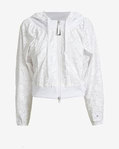 #INTERMIX #SWEEPSTAKES adidas by Stella McCartney Hooded Lace Print Jacket: The track jacket gets a feminine refresh in an allover floral lace pattern. Zip front. Drawstring hood. In ...
