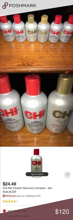 Chi silk infusion Brand new silk infusion 6oz this listing is for 6 bottles of 6oz silk infusion retail is about $20 per bottle and keratin retail for about $30. Make me a reasonable offer Accessories Hair Accessories