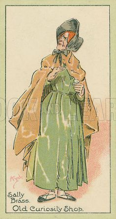 Sally Brass, Old Curiosity Shop. Characters from Dickens, cigarette cards published by John Player, early 20th century.