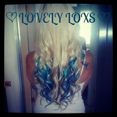 Full head Blonde with teal tips hair extensions~♥~ LOVE the OMBRE look!!!!! by LOVELYLOXS, $75.00