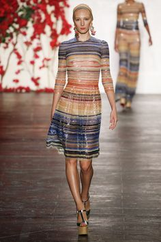 Naeem Khan | Spring 2016 Ready-to-Wear | 10 Multicolored striped embellished 3/4 sleeve midi dress