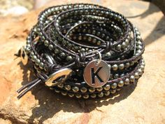 Boho  Black Leather  Triple Stack  Monogram  Wrap by fleurdesignz, $28.00