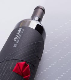 "Lawyers House Wine - Interesting bottle wearing a ""suit"" with a pocket square"