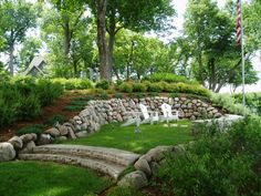 landscaping and hiding a mound system | landscape shoreline work hillside landscaping shoreline rock riprap ...