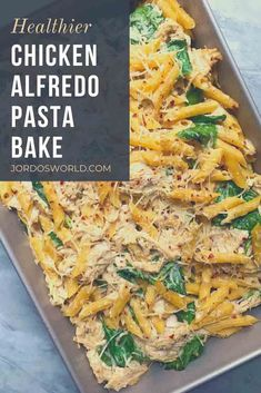 Simple, nutritious, delicious—this Chicken Alfredo Pasta Bake has it all! It should be called ALLfredo... Alfredo Pasta Bake, Cheesy Pasta Bake, Cheesy Chicken Pasta, Buffalo Chicken Pasta, Easy Oven Recipes, Healthy Dinner Recipes, Healthy Chicken Alfredo, Protein Pasta, Big Meals