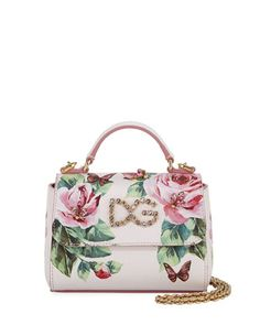 7e6be1d8f597 Dolce   Gabbana Girls Floral Leather Top Handle bag w  Crystal Embellishment