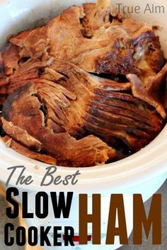 The BEST slow cooker ham you've ever had. This is way too easy! Never cooking ham any other way.