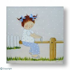 Cuadro infantil personalizado: Niña en un balancín (ref. 10190) Ideas Para, Family Guy, Baby, Fictional Characters, Irene, Scrappy Quilts, Drawings, Bedroom, Wood Pictures