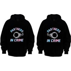 Couple Matching Hoodies - Partners In Crime - Black - S-XXL - Best... ($48) ❤ liked on Polyvore