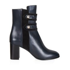 Isabel Marant Alvy military leather ankle boots ($880) ❤ liked on Polyvore featuring shoes, boots, ankle booties, black navy, black leather ankle booties, black bootie, black boots, black military boots and navy leather boots