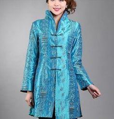 CF-blue-burgundy-gray-black-Chinese-Silk-Womens-Jacket-Coat-6-8-10-12-14-16-18