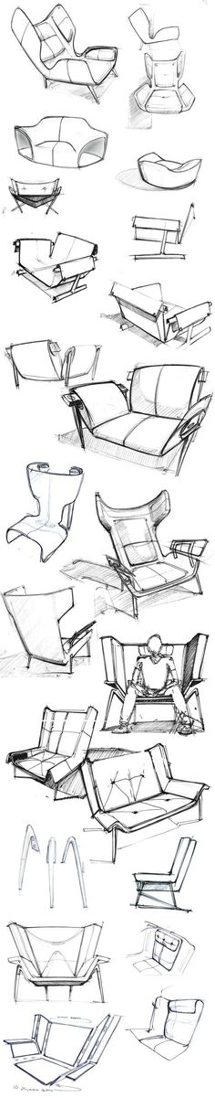 sketches of the Deca Lounge Chair by Larry Parker: