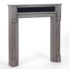 Manteau de cheminée bois patiné gris/noir L100xP20xH110cm BISTROT