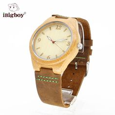 IBigboy Luminous Bamboo Watch Wooden Wristwatch Leather Band Japan Quartz Movement Waterproof IPX6 Online with $92.14/Piece on Ibigboy's Store | DHgate.com