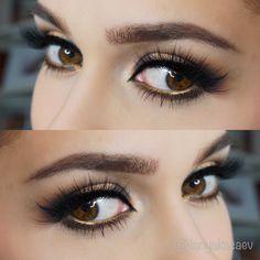 Gold eyeliner waterline. Bronze eye look makeup