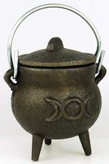 This is one of my favorites on Wiccan Supplies, Witchcraft Supplies & Pagan Supplies Experts-Eclectic Artisans: Small Triple Moon Cast Iron Cauldron $18