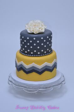 Gray and yellow baby shower cake. Could be used for many occassions