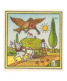 Skřivánek a oráč Folklore, Fairy Tales, The Past, Retro, Illustrations, Poster, Pictures, Painting, Animals