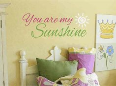You Are My Sunshine Vinyl Wall Decal - Girl Wall Decals Girl Baby Nursery Wall Quote Poem Saying Girls Room Wall Art 14H x 36W FS210 via Etsy
