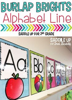 This is a set of burlap themed alphabet posters in fun bright colors (turquoise, pink, green and purple). There are two posters per page and each poster is approximately 5x7 inches. I also have a brown burlap version of this as well. It would be an excellent addition to your classroom decor during back to school.