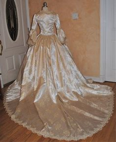 Fantasy Marie Antoinette Gown with Train and Bows Custom not gathered. 975