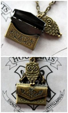 "Etsy ""Harry Potter Owl Post Necklace features a bronze owl charm carrying an envelope, but the best part is that the envelope really opens!"""