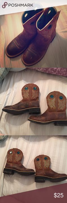 Ariat Cowboy boots Women Size 10 Ariat Cowboy boots Women Size 10. Brown with turquoise detail and turquoise lining inside. Worn only a few times. Ariat Shoes Ankle Boots & Booties