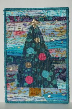 Fabric Christmas Postcard Quilted Postcard by FiberArtbyLudmila