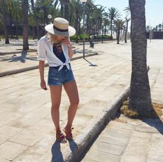 """Kristel is walking around Palma with our """"Pom Pom Sandels"""" on! What a cute outfit! XOX"""