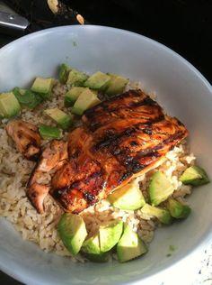 Teriyaki grilled salmon, avocado & whole grain rice. I call it deconstructed sushi.