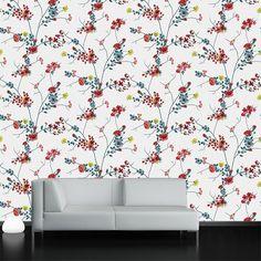Çiçekli dallar çiçek desenli duvar kağıdı - duvargiydir.com