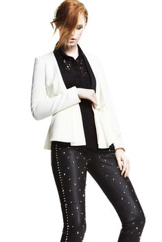 Tuxedo dressing is reimagined with embellished pants & a bold white jacket! #CocktailHour #THEOUTNET