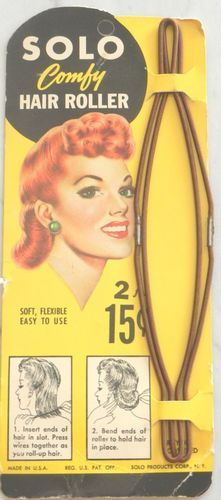 Vintage 1940s Solo Comfy Hair Roller hairstyling tool. Huh. So that looks like an easy way to do it.