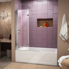 "DreamLine Aqua Fold 36"" x 58"" Hinged Frameless Tub Door & Reviews | Wayfair"