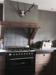 Not the antlers but the hood could be cool also like wall Rustic Kitchen, Country Kitchen, Kitchen Dining, Kitchen Decor, Cottage Kitchens, Home Kitchens, Kitchen Hoods, Kitchen Remodel, Decoration
