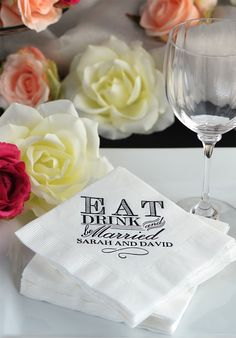 Guests will love these personalized napkins with a classic Eat, Drink, and Be Married design. Set out on the bar or the cake table for guests to use.
