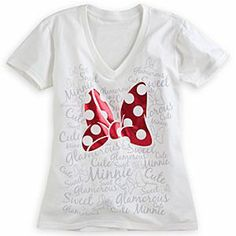 Disney Minnie Mouse Bow Tee for Women | Disney StoreMinnie Mouse Bow Tee for Women - Hearts will flutter when you wear Minnie's foil bow design on this soft cotton v-neck tee for everyday dreaming!