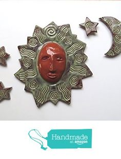 Sun Moon and Stars Terracotta Ceramic Wall Sculpture -9 inch from Cosmic Mermaid https://www.amazon.com/dp/B01GSWWVOG/ref=hnd_sw_r_pi_dp_6IUwxb0BHCAFN #handmadeatamazon