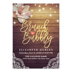 Brunch & Bubbly Bridal Shower Floral String Lights Card - cyo diy customize unique design gift idea perfect