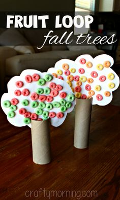 Learn how to make toilet paper roll fall tree crafts for kids! You will use fruit loops as the leaves and make an apple tree too. Daycare Crafts, Sunday School Crafts, Classroom Crafts, Autumn Crafts, Fall Crafts For Kids, Thanksgiving Crafts, Fall Crafts For Preschoolers, Fall Crafts For Toddlers, Winter Craft