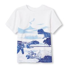 s Toddler Boys Short Sleeve Dinosaur Group Graphic Tee - White T-Shirt - The Children's Place