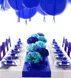 Blue table decoration